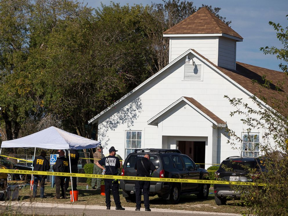 PHOTO: Law coercion officials works during a stage of a deadly sharpened during a First Baptist Church in Sutherland Springs, Texas, Nov. 5, 2017.