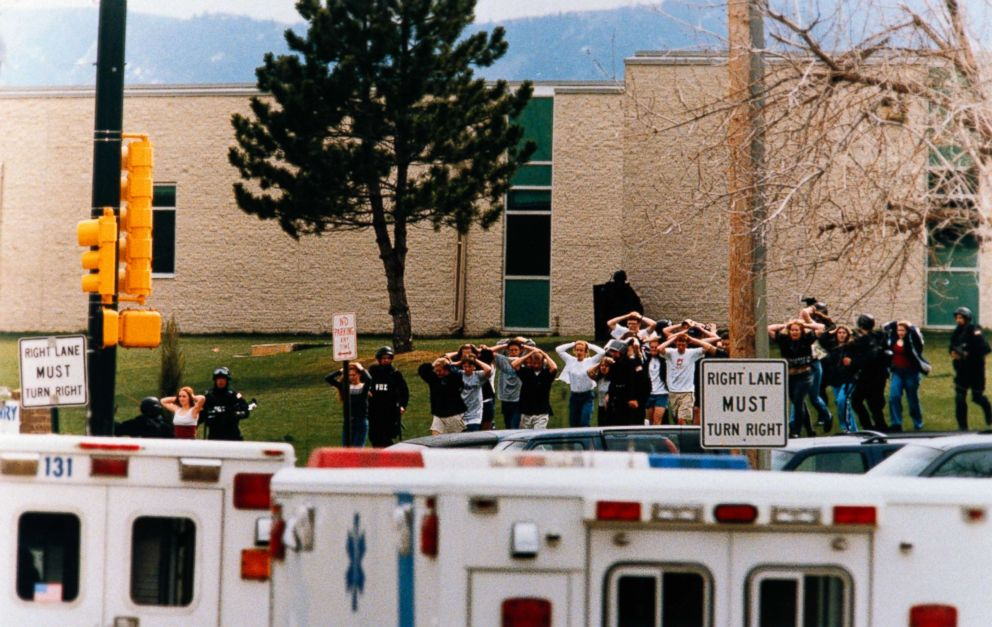 PHOTO: Students run out of a Columbine High School in Littleton, Colo. as dual gunmen went on a sharpened debauch murdering fifteen, including themselves, Apr 20, 1999.